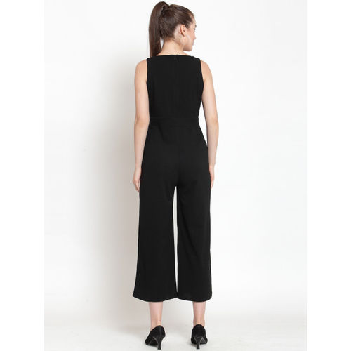 Everlush Women Black Solid Smart Casual Culotte Jumpsuit