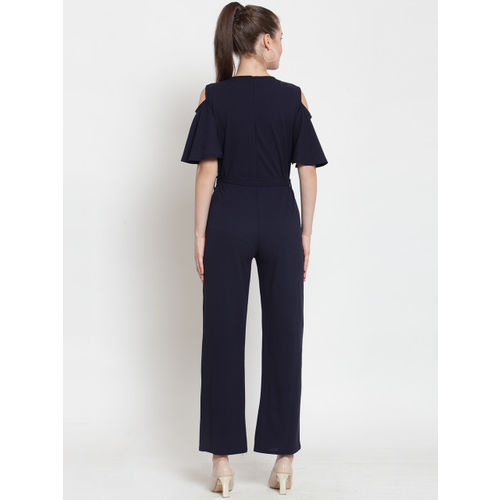 Everlush Women Navy Blue Solid Smart Casual Basic Jumpsuit