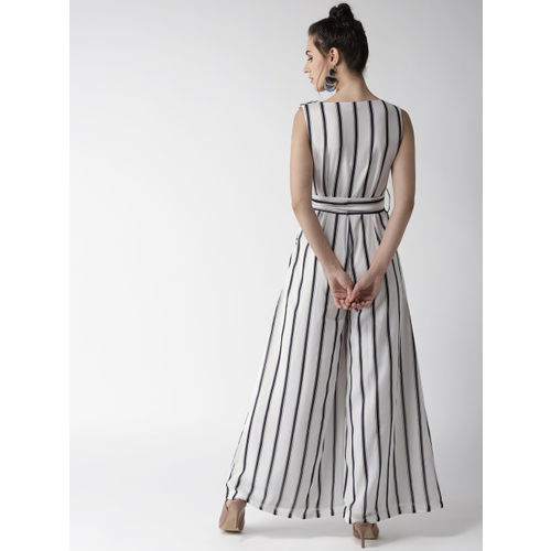QUIERO Women White and Navy Blue Striped Basic Jumpsuit
