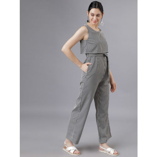 Tokyo Talkies Women Black & White Striped Jumpsuit