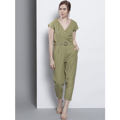 DOROTHY PERKINS Olive Green Solid Basic Jumpsuit