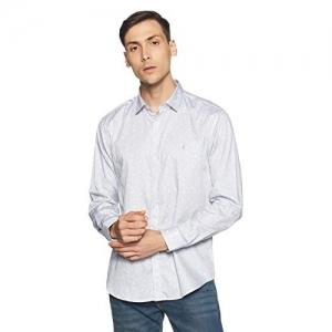 Van Heusen Grey Cotton Printed Slim Fit Casual Shirt