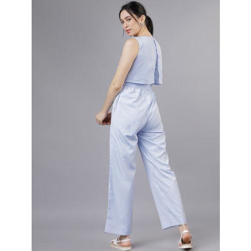 Tokyo Talkies Blue Layered Basic Jumpsuit
