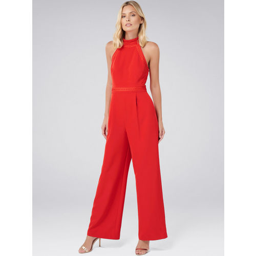 Forever New Red Solid Basic Jumpsuit