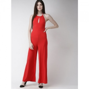 FOREVER 21 Red Solid Basic Jumpsuit