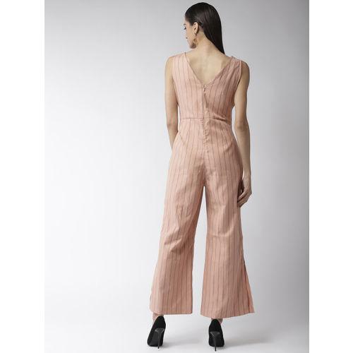 Madame Dusty Pink & Black Striped Basic Jumpsuit