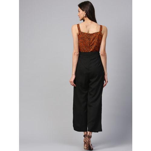 Zima Leto Brown & Black Printed Basic Jumpsuit