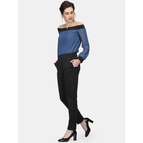 Eavan Black & Blue Solid Basic Jumpsuit