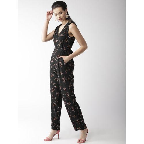 QUIERO Black Floral Printed Basic Jumpsuit