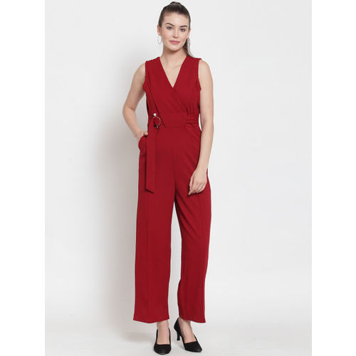 Everlush Women Maroon Solid Smart Casual Basic Jumpsuit