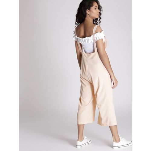 Chemistry Peach-Coloured Solid Culotte Jumpsuit
