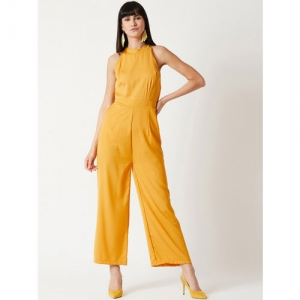 Miss Chase Yellow Solid Basic Jumpsuit