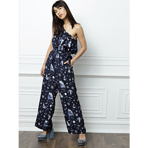 all about you from Deepika Padukone Navy Blue Printed Basic Jumpsuit