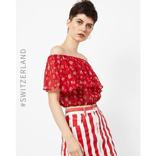 TALLY WEiJL Off-Shoulder Crop Top with Ruffled Overlay