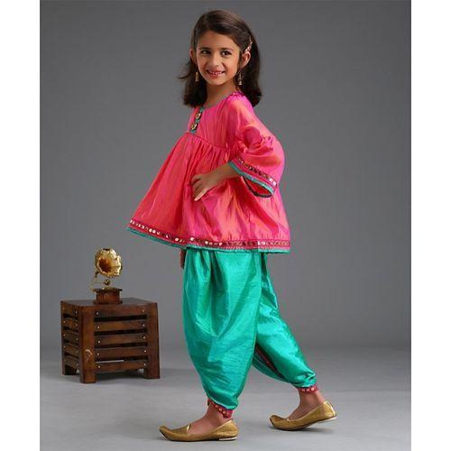 Saka Designs Three Fourth Sleeves Kurta & Dhoti Set - Pink & Green
