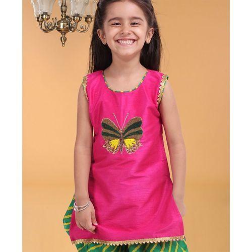 Bownbee Embroidered Sleeveless Kurta With Leheriya Dhoti & Dupatta - Pink