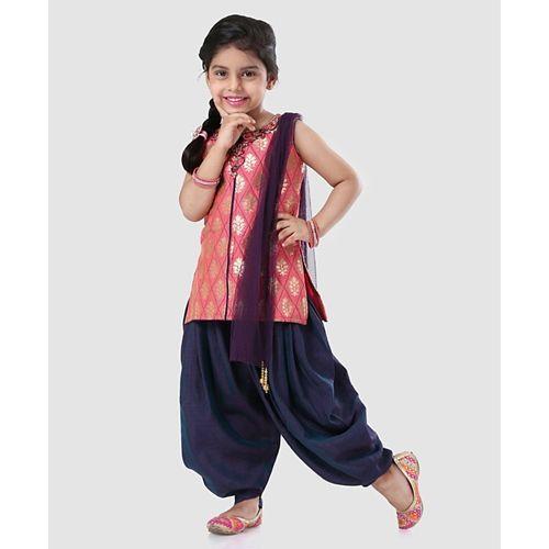 Babyhug Sleeveless Kurti & Dhoti Pant With Dupatta - Pink & Navy Blue