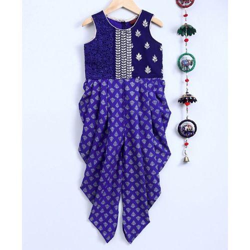 Twisha Sleeveless Flower Embroidered Yoke Motif Print Jumpsuit - Blue