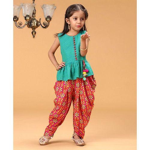 Twisha Sleeveless Butta Work Top With Floral Print Dhoti - Blue & Pink