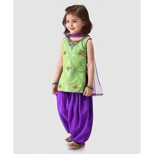 Babyhug Sleeveless Kurti And Patiala With Dupatta Floral Embroidery - Green Purple