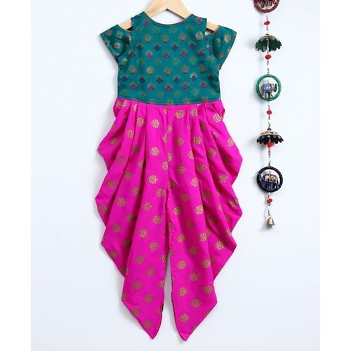 Twisha Short Sleeves Motif Print Cold Shoulder Jumpsuit - Green