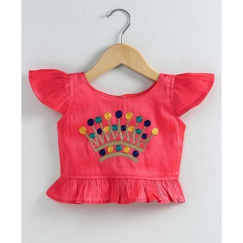 KID1 Crown Embroidered Cap Sleeves Top With Printed Dhoti - Peach