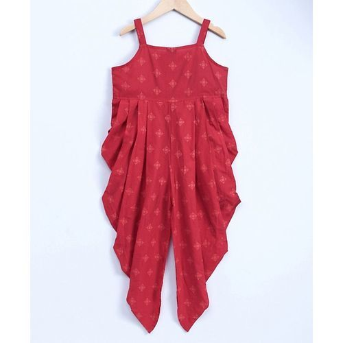 Twisha Stylish Printed Dhoti Style Jumpsuit With Embroidered Jacket - Red