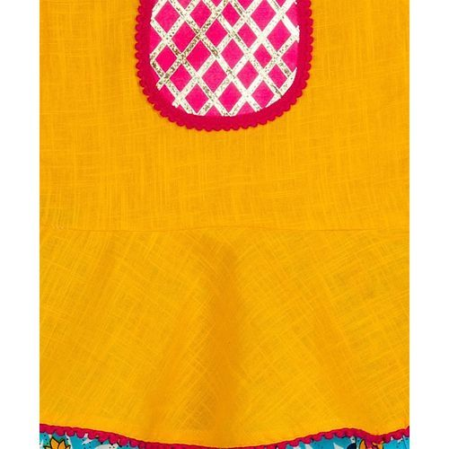 KID1 Nia Peplum Sleeveless Top With Front Lace Detailed Dhoti - Yellow & Blue