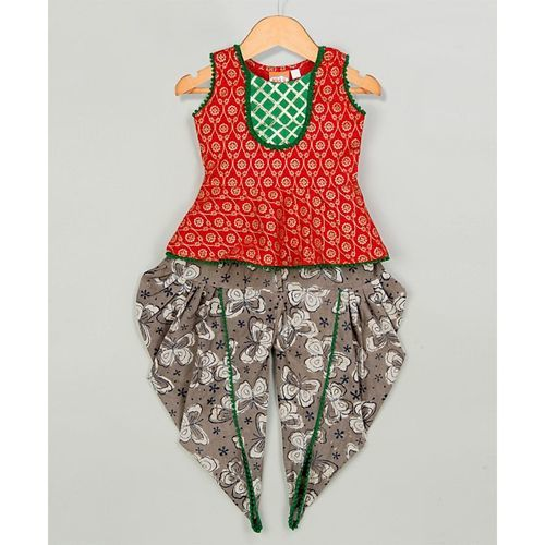 KID1 Flower Printed Sleeveless Top With Butterfly Print Dhoti Set - Red