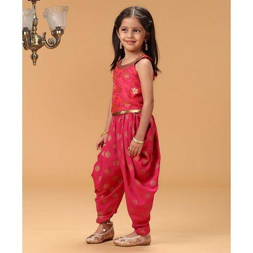 Twisha Sleeveless Top With Motif Print Dhoti - Pink