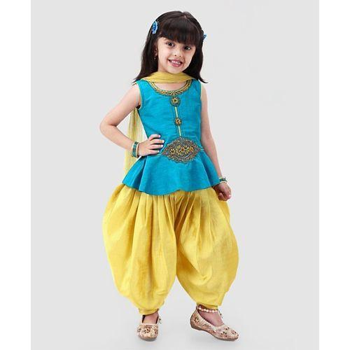 Babyhug Sleeveless Embroidered Patiala Suit With Dupatta - Blue Yellow