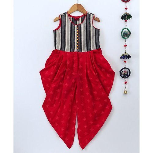 Twisha Sleeveless Striped Yoke Jumpsuit - Red