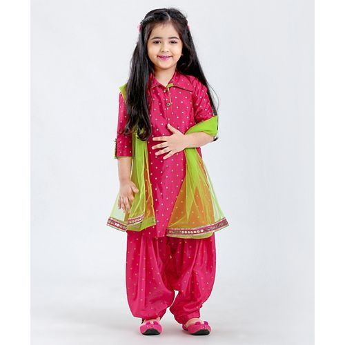 Saka Designs Long Sleeves Kurta Patiala & Dupatta - Fuchsia