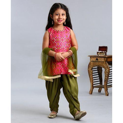 Babyhug Sleeveless Kurti And Patiala With Dupatta Zardosi Jari Work - Pink Green