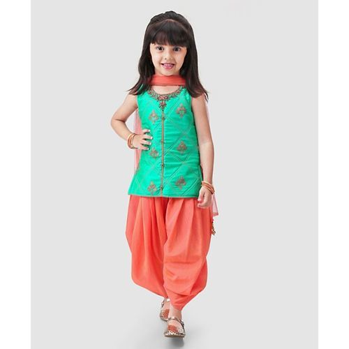 Babyhug Sleeveless Jari Embroidered Patiala Suit With Dupatta - Orange Mint