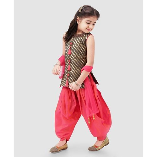 Babyhug Sleeveless Embroidered Patiala Suit With Dupatta - Brown Pink