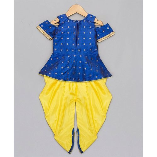Kid1 Cold Shoulder Half Sleeves Peplum Top & Dhoti Set - Blue & Yellow