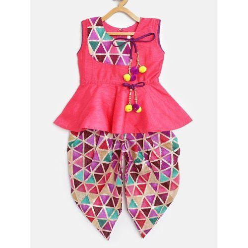 Bownbee Sleeveless Peplum Style Kurti & Geometrical Printed Dhoti Pants - Pink