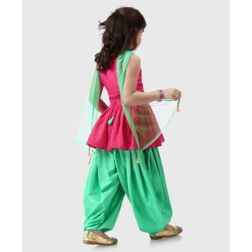Babyhug Sleeveless Kurti And Patiala With Dupatta Floral Motifs - Pink Green