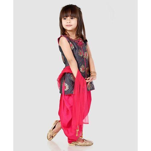 Babyhug Sleeveless Kurti And Patiala With Dupatta Studded Detailing - Grey Pink