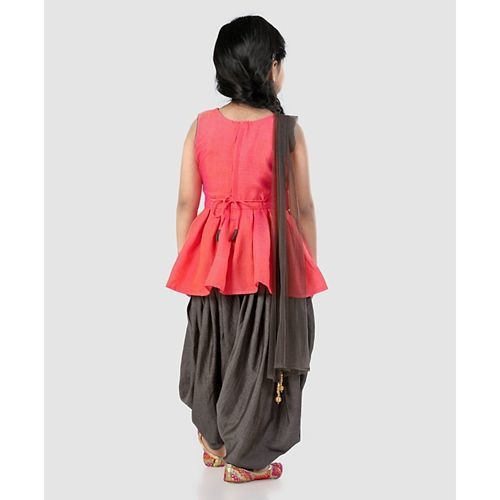 Babyhug Sleeveless Ethnic Wear Kurti & Patiala Pants With Dupatta - Orange