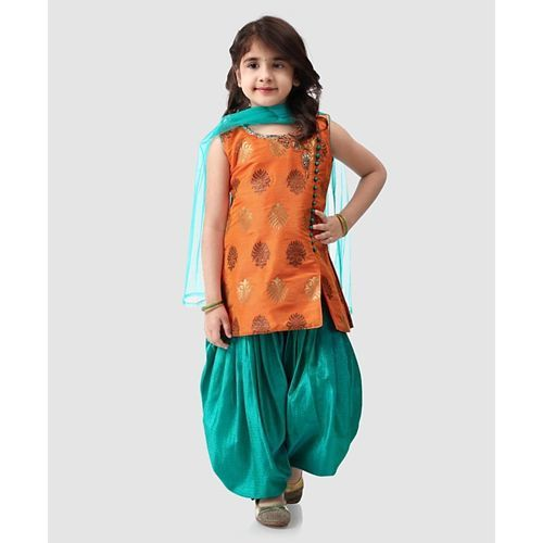 Babyhug Sleeveless Kurti And Patiala With Dupatta Studded Detailing - Orange Green