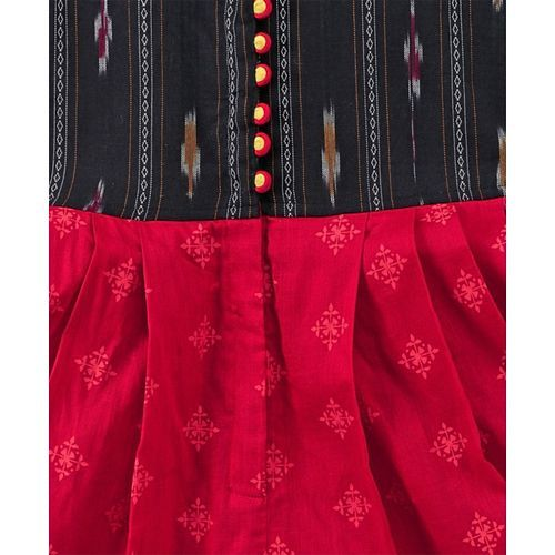Twisha Sleeveless Ikat Print Yoke Jumpsuit - Red