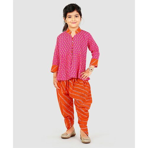 Exclusive From Jaipur Full Sleeves Short Kurti And Dhoti Salwaar - Pink Orange