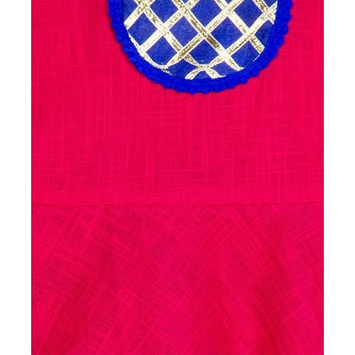 KID1 Sleeveless Peplum Top With Flower Print Dhoti - Red & Blue
