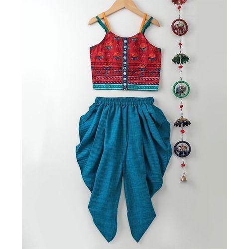 Twisha Flower Printed Sleeveless Top & Dhoti Set - Blue
