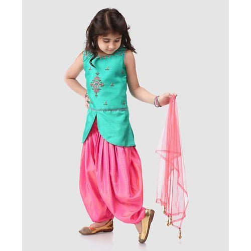 Babyhug Sleeveless Kurti And Patiala With Dupatta Studded Detailing - Sea Green Pink