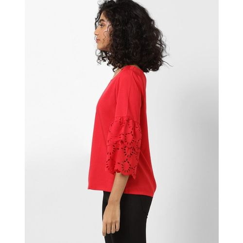 FABALLEY Top with Laser-Cut Bell Sleeves
