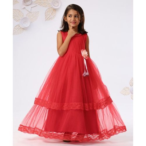 Mark & Mia Sleeveless Gown With Flower Corsage - Red