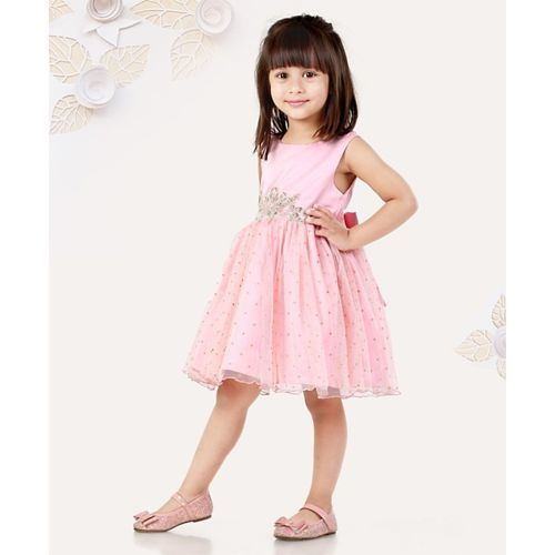Mark & Mia Sleeveless Party Wear Frock Floral Embellishment - Pink